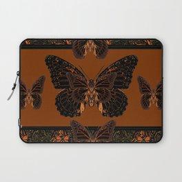 BLACK  MONARCH BUTTERFLIES,COFFEE BROWN-BURGUNDY ART Laptop Sleeve