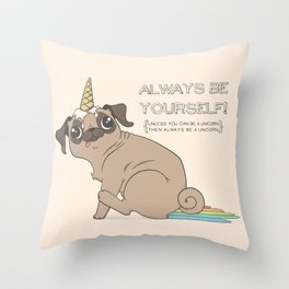 The Magical Pugicorn Throw Pillow