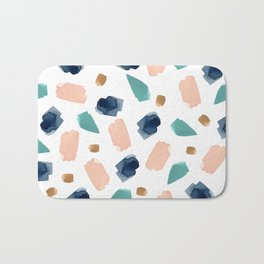 turquoise, navy, pink & gold Bath Mat
