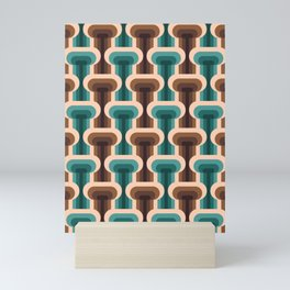 Midcentury modern T design teal & brown pattern on products Mini Art Print