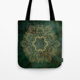 Golden Flower Mandala on Dark Green Tote Bag