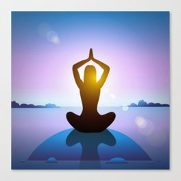 Yoga Studio Calming Purple / Blue Sukhasana Pose Canvas Print