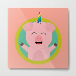 Unicorn Pig in green circle Metal Print