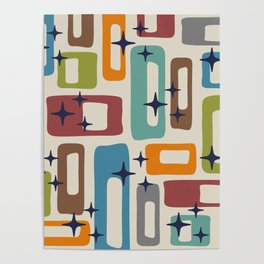 Retro Mid Century Modern Abstract Pattern 224 Poster