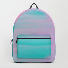 Abstract lavender teal pink watercolor sunset Backpack