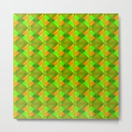 Cross shaped bright green squares and triangles in orange. Metal Print