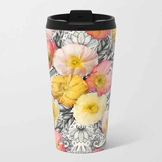 Collage of Poppies and Pattern Metal Travel Mug