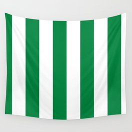 Classic Cabana Stripes in White + Kelly Green Wall Tapestry