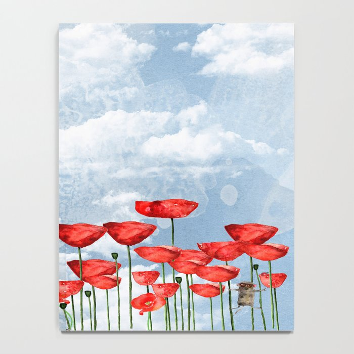 Mouse and poppies on a cloudy day Notebook