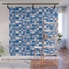 Mod Gingham - Blue Wall Mural
