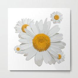Daisy flower minimal white cute Metal Print