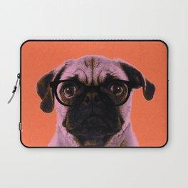 Geek Pug with Glasses in Orange Background Laptop Sleeve
