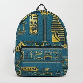 Gold Sphinx head with Egyptian hieroglyphs on blue leather Backpack