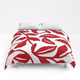 LEAF PALM VINE IN RED AND WHITE PATTERN Comforters