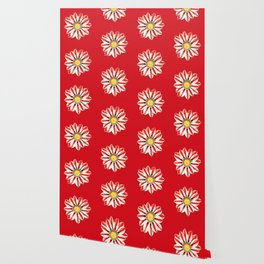African Daisy / Gazania - Red and White Striped Wallpaper