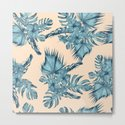 Island Retreat Hibiscus Palm Pastel Coral Teal Blue by followmeinstead