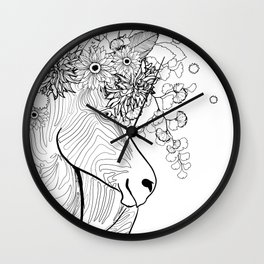 Zebra With Flowers in its Hair - Wearable Coloring Page Wall Clock