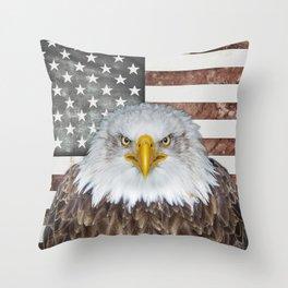 American Bald Eagle Patriot Throw Pillow