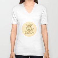 buddhism V-neck T-shirts featuring Yoda by Roland Banrevi