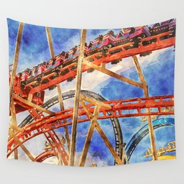 Fun on the roller coaster, close up Wall Tapestry