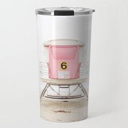 Beach photography pink tower Travel Mug