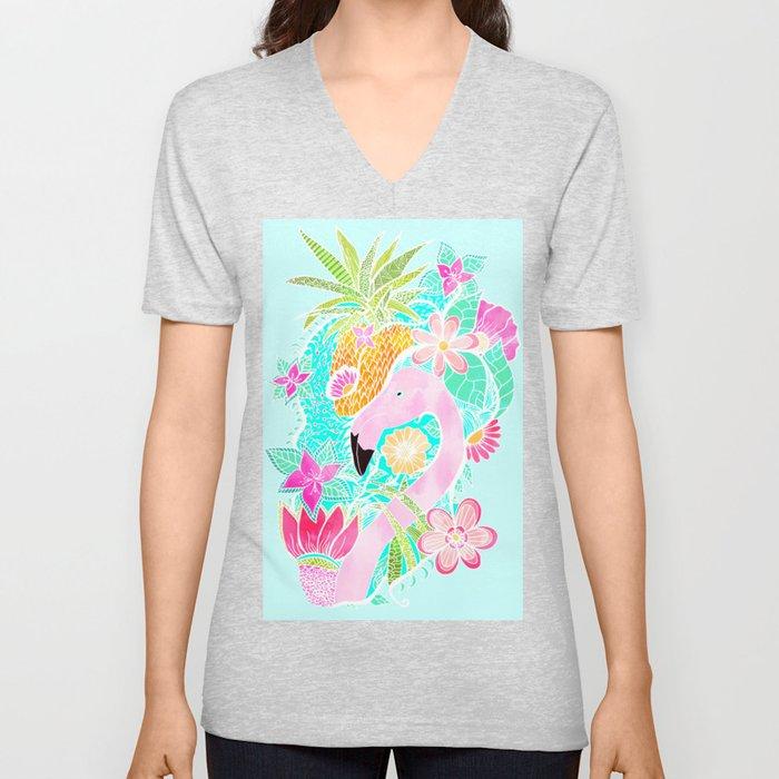 Tropical summer watercolor flamingo floral pineapple Unisex V-Neck