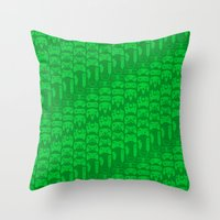video game Throw Pillows featuring Video Game Controllers - Green by C.Rhodes Design