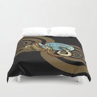maori Duvet Covers featuring Abalone with Historic Maori Fishing Hooks by Patricia Howitt