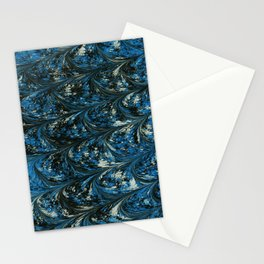 Stormy Sea, Blue Combed Marbling Pattern  Stationery Cards