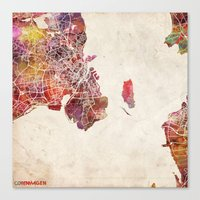 copenhagen Canvas Prints featuring Copenhagen by MapMapMaps.Watercolors