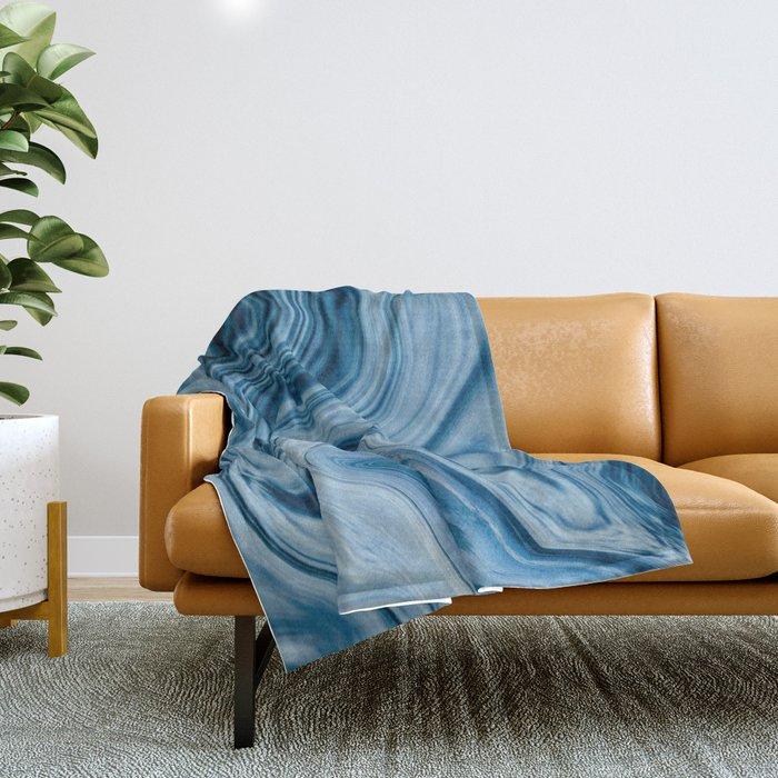 Splash of Blue Swirls, Digital Fluid Art Graphic Design Throw Blanket