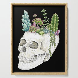 """""""Garden of Thought"""" - Skull and Flowers Serving Tray"""