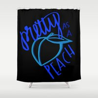 sayings Shower Curtains featuring Southern Sayings- Pretty as a Peach by jcervantez design