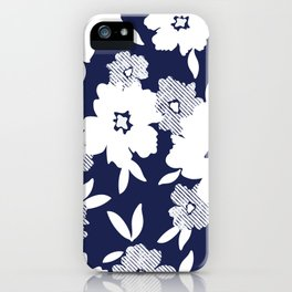 Monochromatic Blue and White Florals iPhone Case