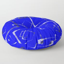 Dark carved squares and gray rhombuses on a blue background. Floor Pillow