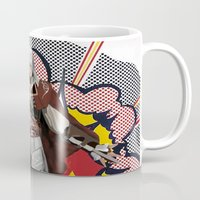 lichtenstein Mugs featuring Assassisn Creed Ezio with a Roy Lichtenstein background by Peter Brown