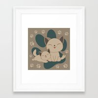 mew Framed Art Prints featuring Mama, Mew...Mew... by HK Chik