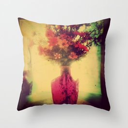 Vintage Flowers of August Throw Pillow