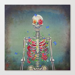 Blooming skeleton on the grunge background  Canvas Print