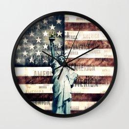 Vintage Patriotic American Liberty Wall Clock