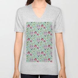 Pink green watercolor hand painted floral pattern Unisex V-Neck