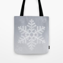 Typographic Snowflake Greetings - Silver Grey Tote Bag