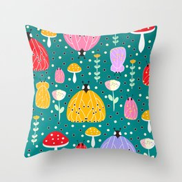 Bugs and mushrooms Throw Pillow