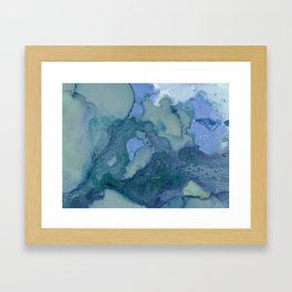 Ink in Blue and Green Framed Art Print