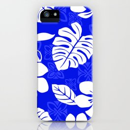 Blue and White Hibiscus Aloha Hawaiian Flower Blooms and Tropical Banana Leaves Pattern iPhone Case