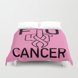F U CANCER-black line Duvet Cover