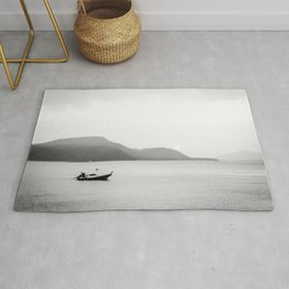 Abstract Sunset | Black and White Fishing Boat Gray Foggy  Island Lake Landscape Photograph Rug