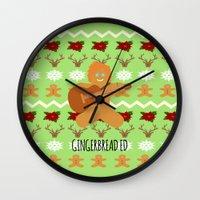 ed sheeran Wall Clocks featuring Gingerbread Ed II by Laura Maria Designs