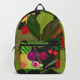 Gardener's Delight plum, fig tree and summer fruits pattern Backpack