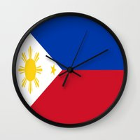 philippines Wall Clocks featuring Flag of the Philippines by Neville Hawkins